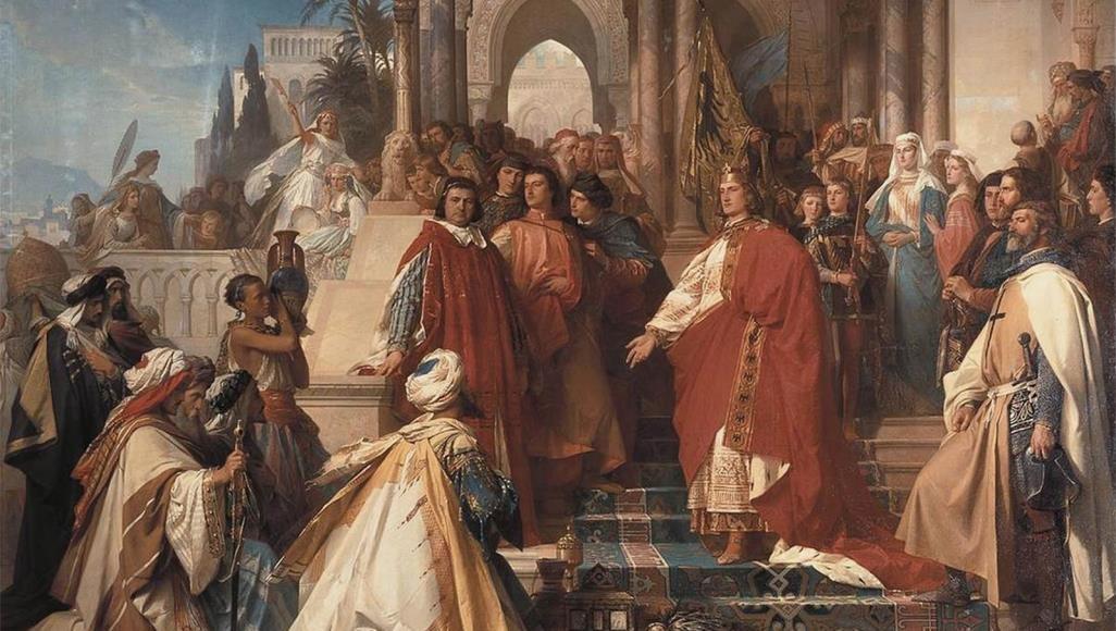 بلاط الإمبراطور فريدريك الثاني الذي كان ملك صقلية بين 1198 و1250م (ويكي كومنز)