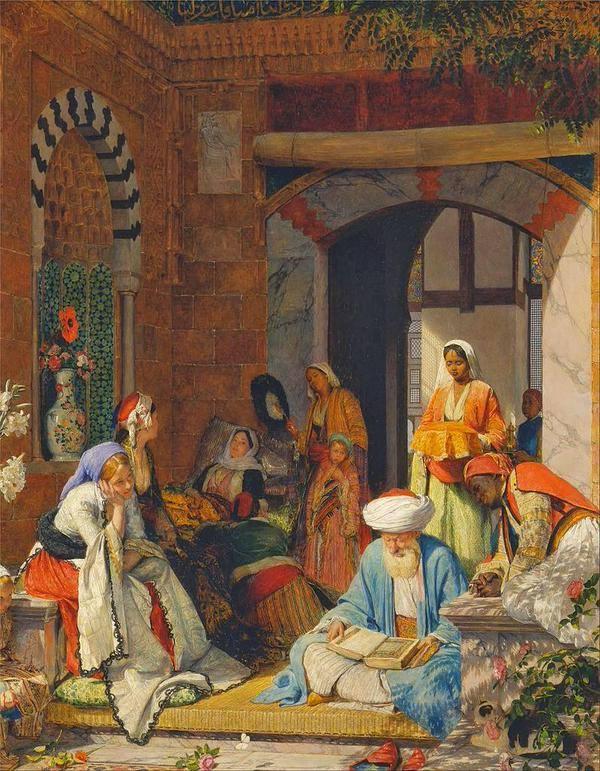 """لوحة """"الرقية الشرعية"""" للرسام الانكليزي المستشرق جون فردريك لويس (1805-1876)، اللوحة تم رسمها عام 1872 حيث يفترض أن المشهد يدور في القاهرة ويقوم فيه أحد الشيوخ بممارسة الرقية الشرعية بالقرآن الكريم لعلاج سيدة مريضة."""