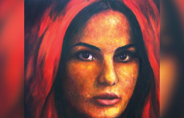 لوحة تجسد ملامح الدفء والقوة (للفنانة التشكيلية الإماراتية فاطمة الحوسني)