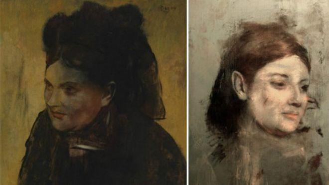 """لوحة """"صورة لامرأة"""" للرسام ديغا (يسار) غطت العمل الفني الآخر (يمين)."""