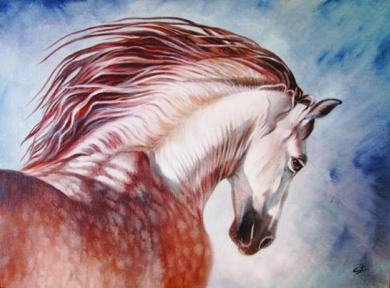 حولت الفنانة الأوكرانية ليزا ستارستينا بهو فندق غايا غراند في دبي، إلى واحة استعراض سحر وجمال الخيول العربية الأصيلة